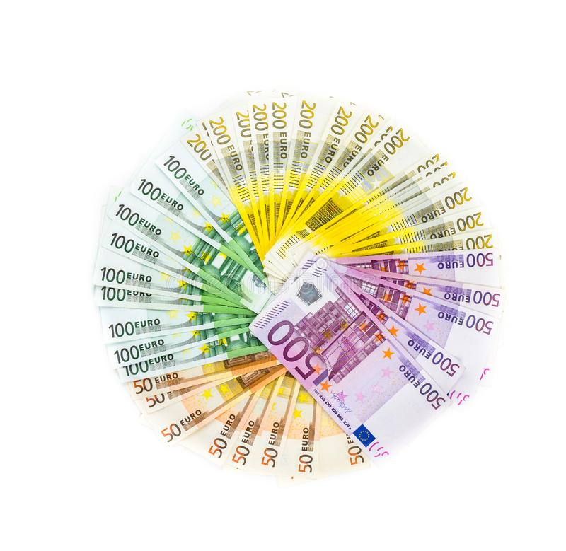 Circle of euro banknotes money isolated on white background. bills. currency. Banknote 50 100 200 500 stock photo