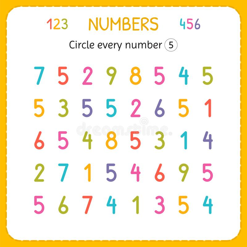 Circle every number Five. Numbers for kids. Worksheet for kindergarten and preschool. Training to write and count numbers. Exercis stock illustration