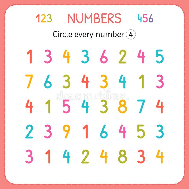 Circle every number Four. Numbers for kids. Worksheet for kindergarten and preschool. Training to write and count numbers. Exercis royalty free illustration