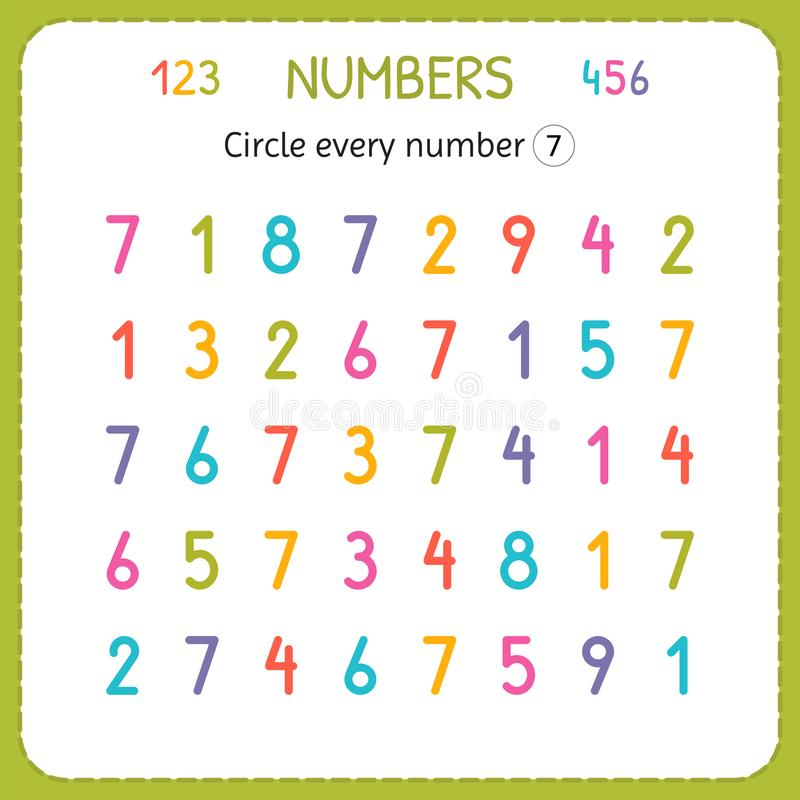 Circle Every Number Seven. Numbers For Kids. Worksheet For ...