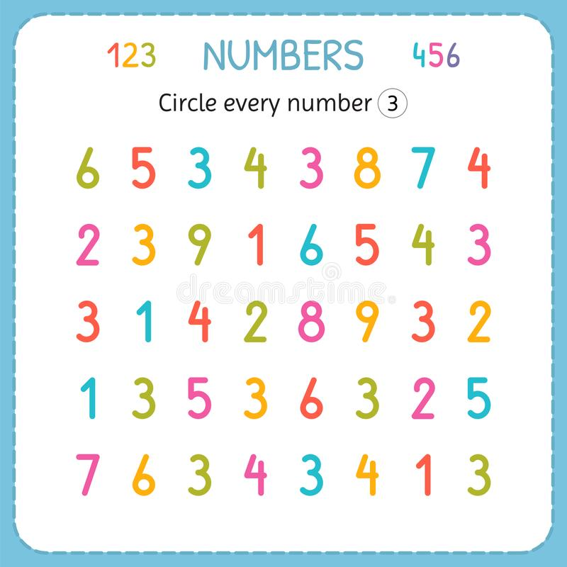 Circle every number Three. Numbers for kids. Worksheet for kindergarten and preschool. Training to write and count numbers. Exerci vector illustration
