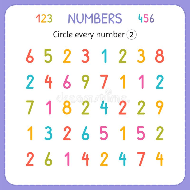 Circle every number Two. Numbers for kids. Worksheet for kindergarten and preschool. Training to write and count numbers. Exercise stock illustration