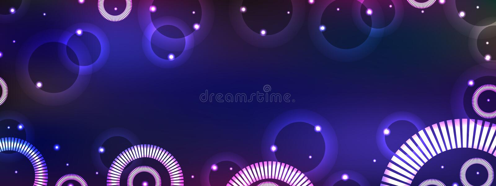 Circle fantasy horizontal banner royalty free illustration