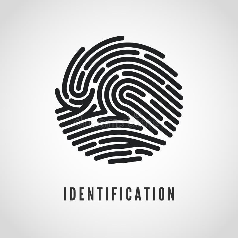 Circle Fingerprint icon design for application. Finger print flat scan. Vector illustration isolated on white background royalty free illustration
