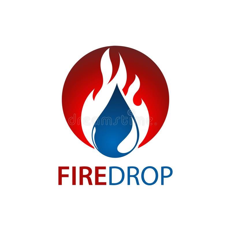 Circle fire water drop logo concept design. Symbol graphic template element royalty free illustration