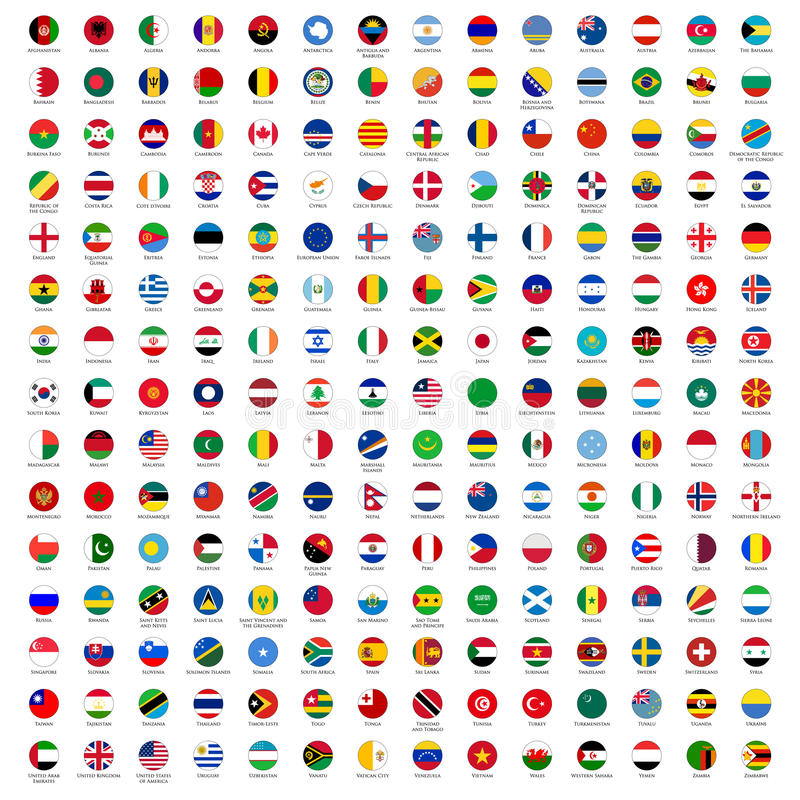 Circle Flags of the World stock illustration