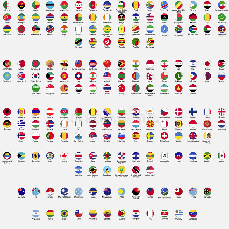 Circle flags of the world. All sovereign states recognized by UN, collection, listed alphabetically by continents, eps 10