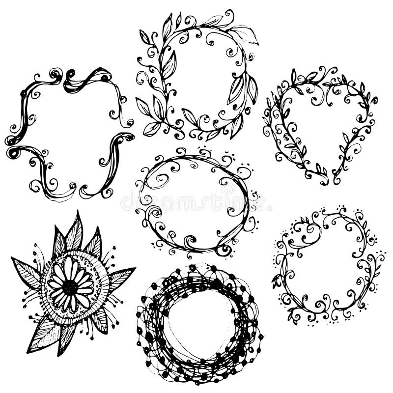 Circle floral borders. Sketch frames, hand-drawn. Vector stock illustration