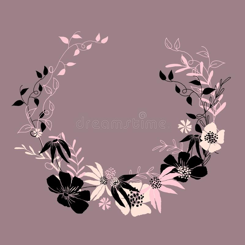 Circle floral frame with leaves and flowers. Vector frame, template for design stock illustration