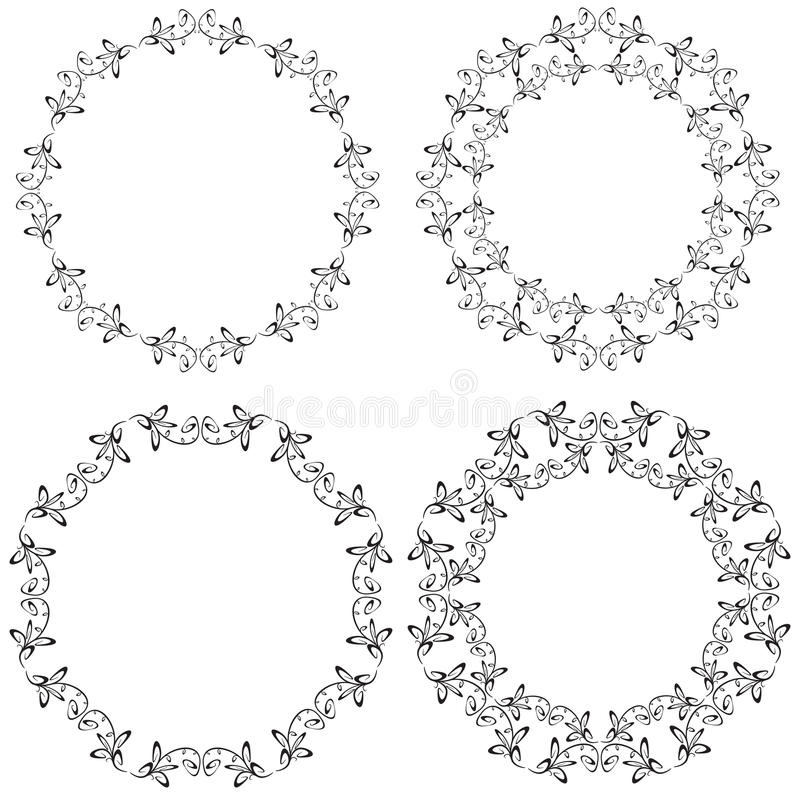 Circle Floral Ornament. S in more shapes royalty free illustration