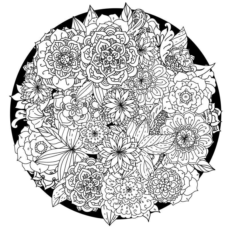 Circle floral ornament. Hand drawn art mandala royalty free illustration