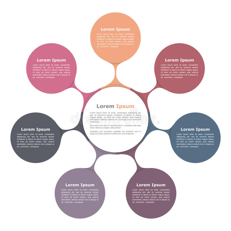 Circle Flow Chart with Seven Elements royalty free illustration