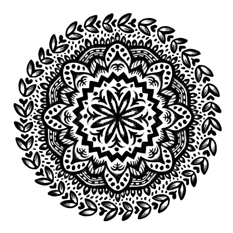 Circle flower mandala. Hand drawn ornamental round design. Black and white vector illustration stock illustration