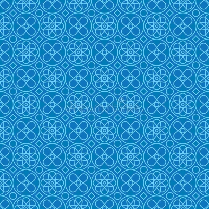 Circle form Style Symmetrie Blue Line nahtloses Muster vektor abbildung