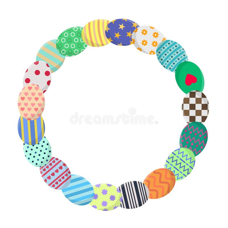 Circle Frame with Colorful Eggs in Wreath Form. Greeting or Invitation Template with Space for Text. Vector illustration. stock illustration