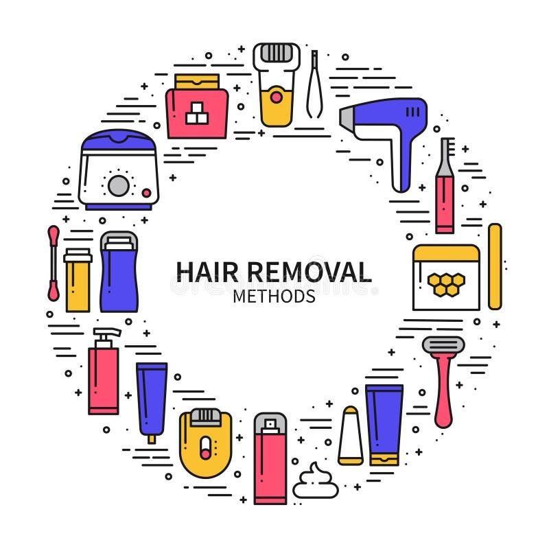 Hair Removal Circle Concept Stock Vector