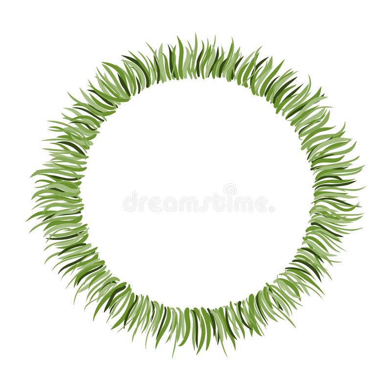 Circle frame with hand drawn green grass. stock illustration