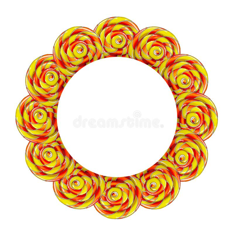 Circle frame made of colorful lollipop candy. stock illustration