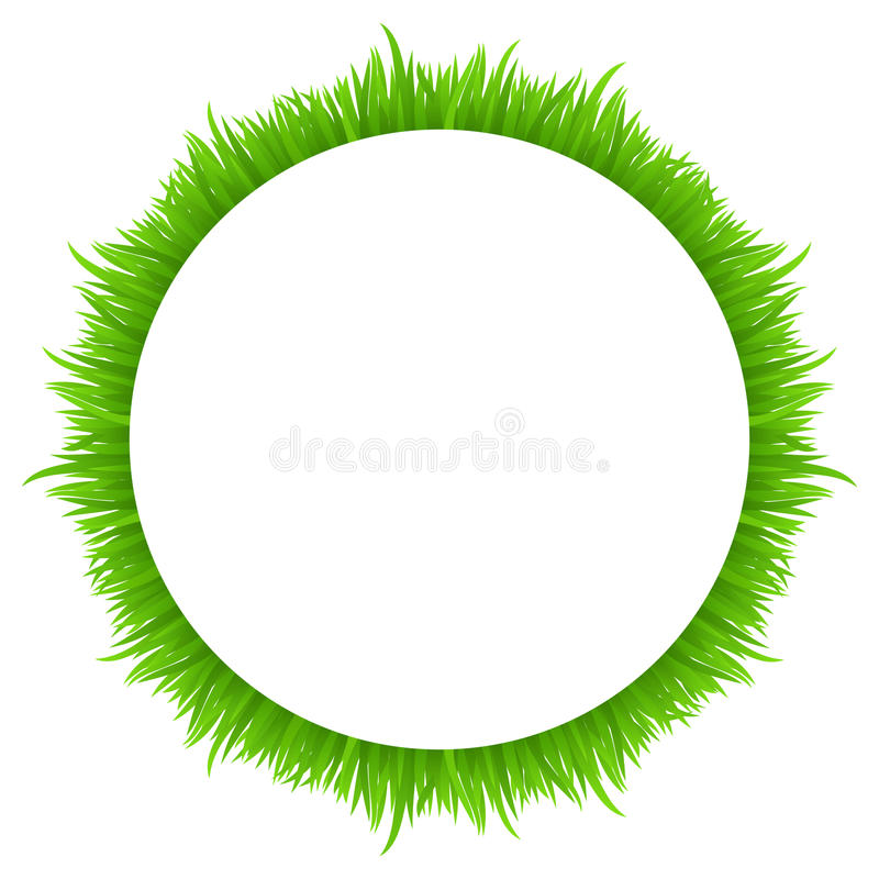 Circle frame made of grass on white. Fresh spring, summer green grass border for your design. royalty free illustration