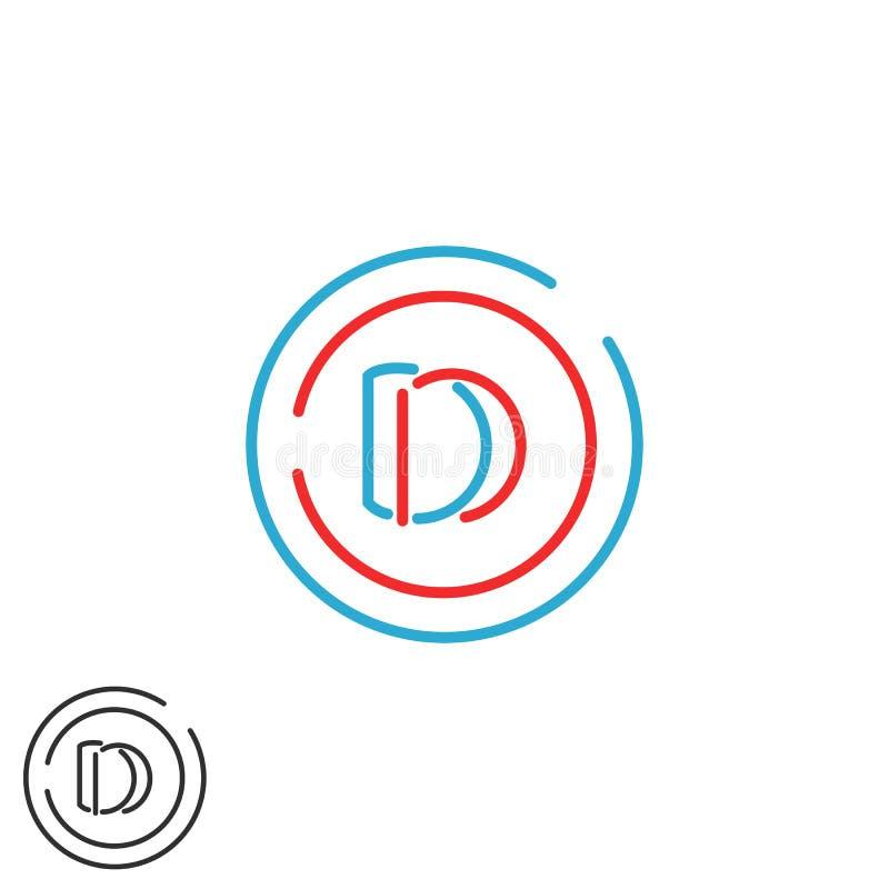 Circle frame monogram logo DD letters, simple combination two D letter, hipster wedding initials emblem vector illustration