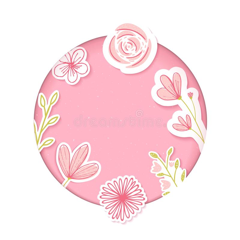 Download Circle Frame. Pink Paper Clip Art With Hand Drawn Flowers. Blank Template For Feminine Products, Cosmetics, Sales. Stock Vector - Illustration of origami, girlie: 109865234