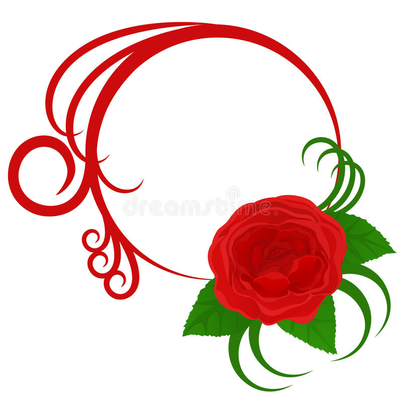 Download Circle Frame With Rose And Curves Stock Vector - Illustration of celebrating, illustration: 13228158