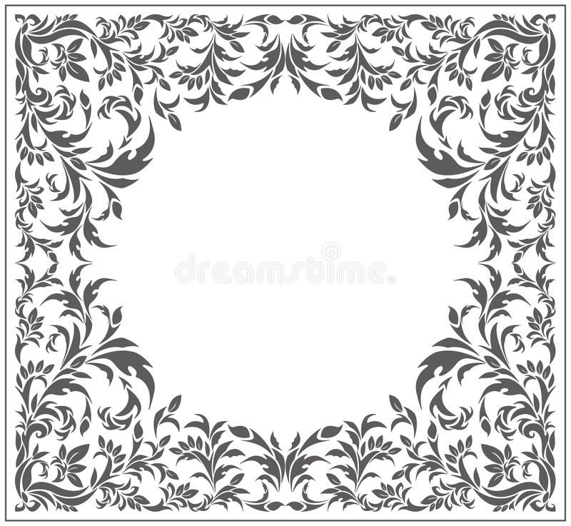 Circle frame with vintage, floral ornament royalty free illustration