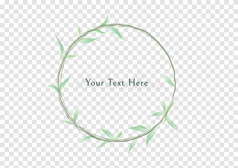 A circle frame of Watercolor climbing plants with light green color leaves vectors,vintage and luxury branch banner royalty free illustration