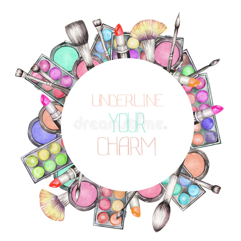 A circle frame with the watercolor makeup tools: blusher, eyeshadow, lipstick and makeup brushes royalty free illustration