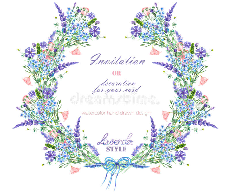 Circle frame, wreath with the floral design; watercolor elements of the lavender, cornflower, forget-me-not and eustoma flowers. Wreath with the floral design royalty free illustration