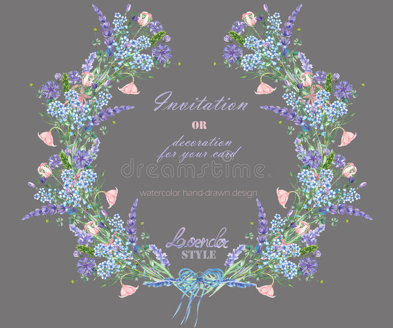 Circle frame, wreath with the floral design; watercolor elements of the lavender, cornflower, forget-me-not and eustoma flowers. Wreath with the floral design vector illustration
