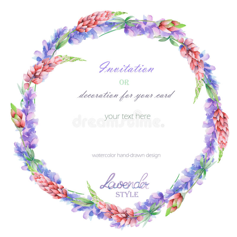 Circle frame, wreath with the floral design; watercolor floral elements of the lavender and pink lupine flowers. Circle frame, wreath with the floral design vector illustration