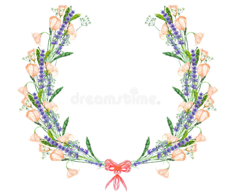 Circle frame, wreath with the floral design; watercolor floral elements of the lavender, wildflowers and eustoma flowers. Wreath with the floral design; elements royalty free illustration