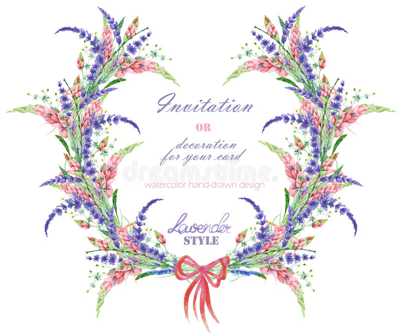 Circle frame, wreath with the floral design; watercolor floral elements of the lavender, wildflowers and lupine flowers. Wreath with the floral design; elements royalty free illustration