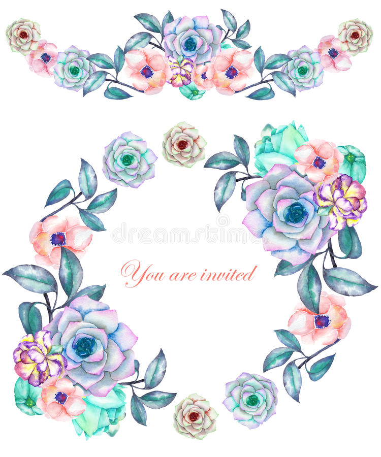 A circle frame, wreath and frame border (garland) with the watercolor flowers and succulents, wedding invitation stock illustration