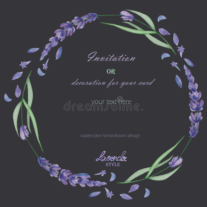 A circle frame, wreath, frame border with the watercolor lavender flowers, wedding invitation. A frame, wreath, frame border for a text with the watercolor vector illustration