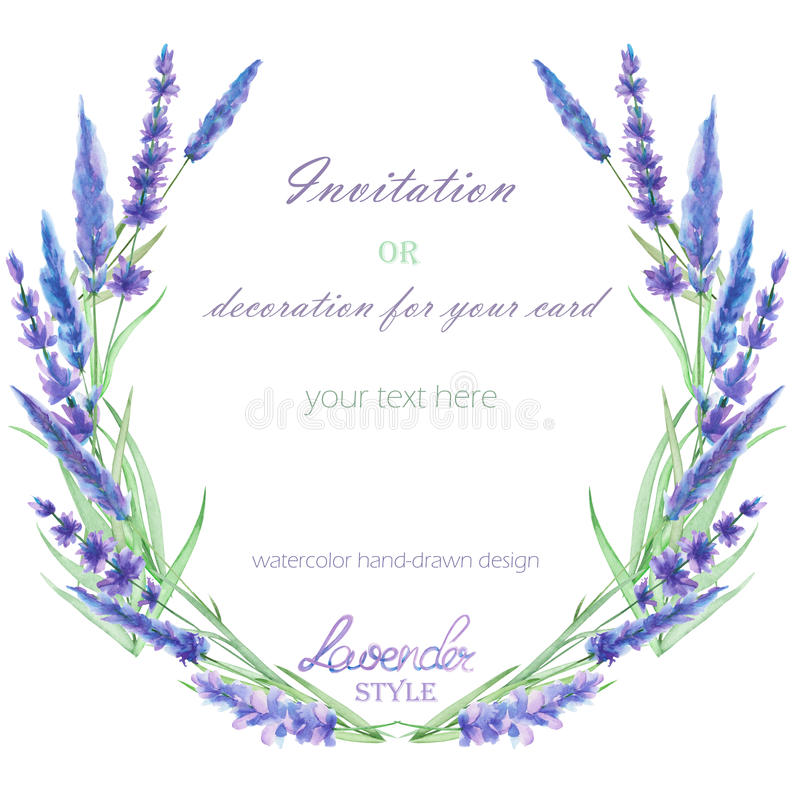 A circle frame, wreath, frame border with the watercolor lavender flowers, wedding invitation. A frame, wreath, frame border for a text with the watercolor royalty free illustration