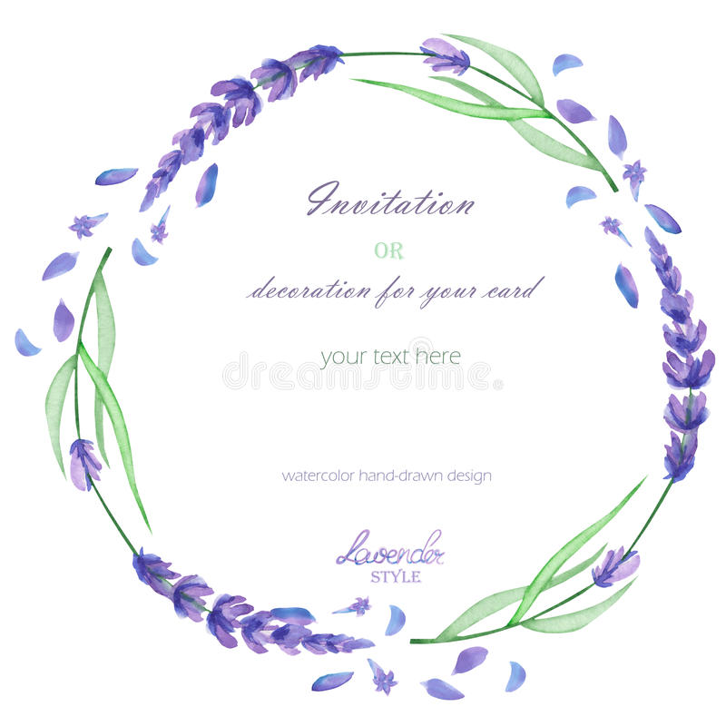 A circle frame, wreath, frame border with the watercolor lavender flowers, wedding invitation. A frame, wreath, frame border for a text with the watercolor stock illustration