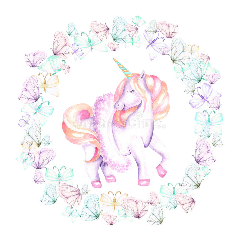 Circle frame, wreath with watercolor tender butterflies and pink unicorn royalty free illustration
