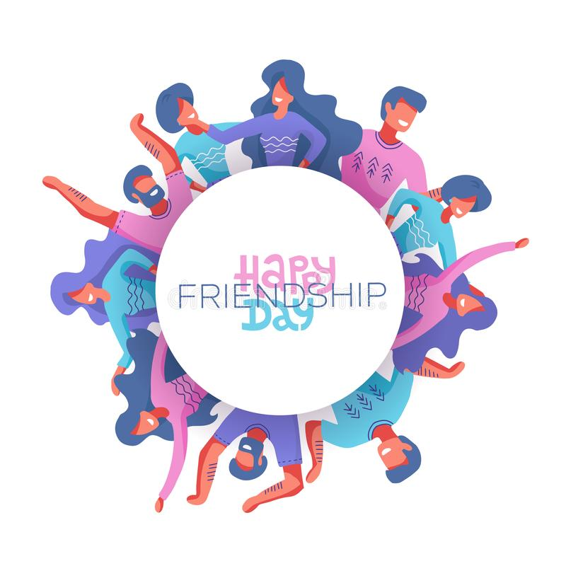 Circle of Friends avatars of different genders as a symbol of International Friendship Day. Happy friendship day vector illustration