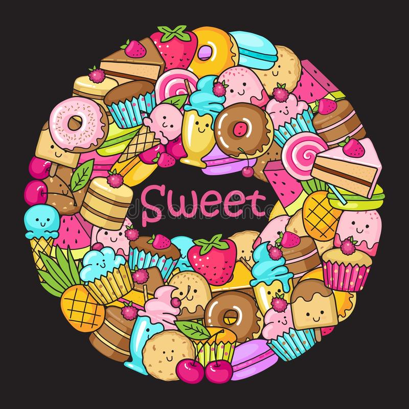 Circle from the funny sweets, fruit and ice cream. Donuts, cupcakes, cakes and cookies vector illustration