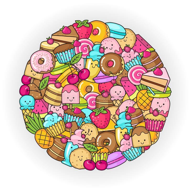 Circle from the funny sweets, fruit and ice cream. Donuts, cupcakes, cakes and cookies. Funny flat icons of donuts, cupcakes, fruit, berries and ice cream in the vector illustration