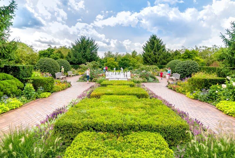 Circle garden area at Chicago Botanic Garden. Chicago, IL, United States - August 18, 2014: Circle garden area at Chicago Botanic Garden royalty free stock photography