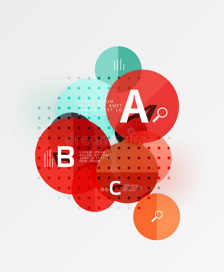 Circle geometric abstract background. Vector template background for workflow layout, diagram, number options or web design stock illustration