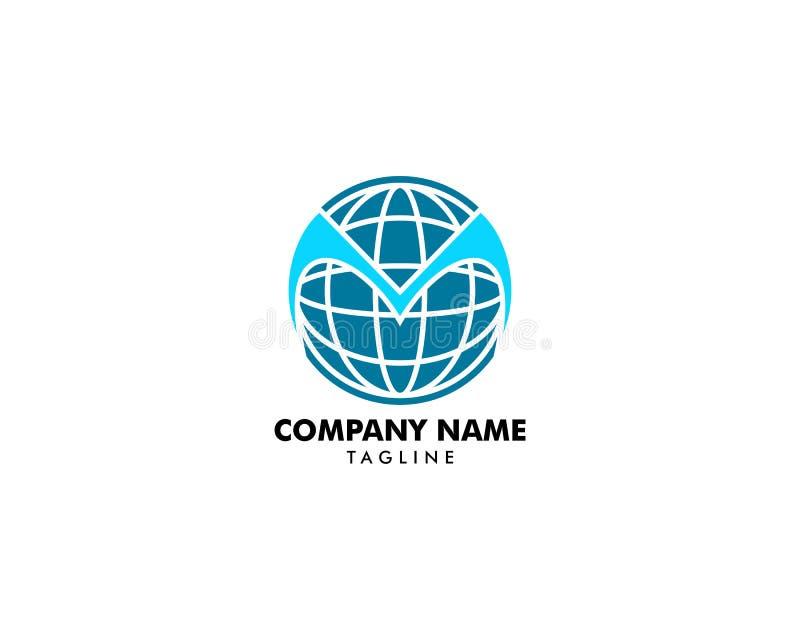Circle globe M logo letter design concept. Circle globe M logo vector illustration