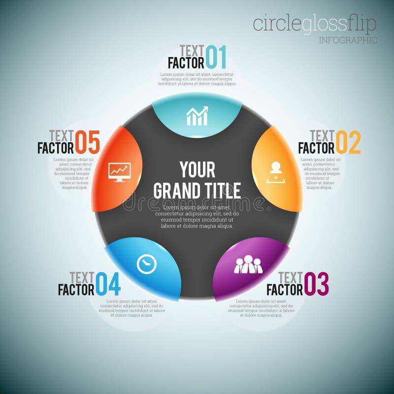 Circle Gloss Flip Infographic. Vector illustration of circle gloss flip infographic elements vector illustration