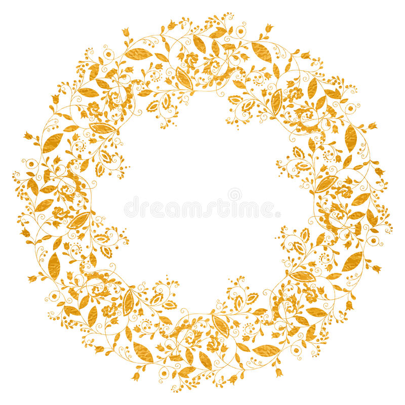 Circle gold floral frame in doodle style vector illustration