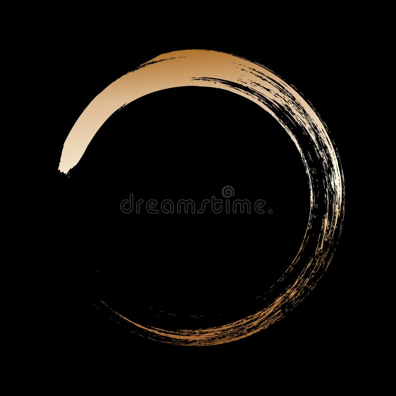 Circle gold frame painted with brush strokes on black background. Abstract vector design element. Gold concept. vector illustration