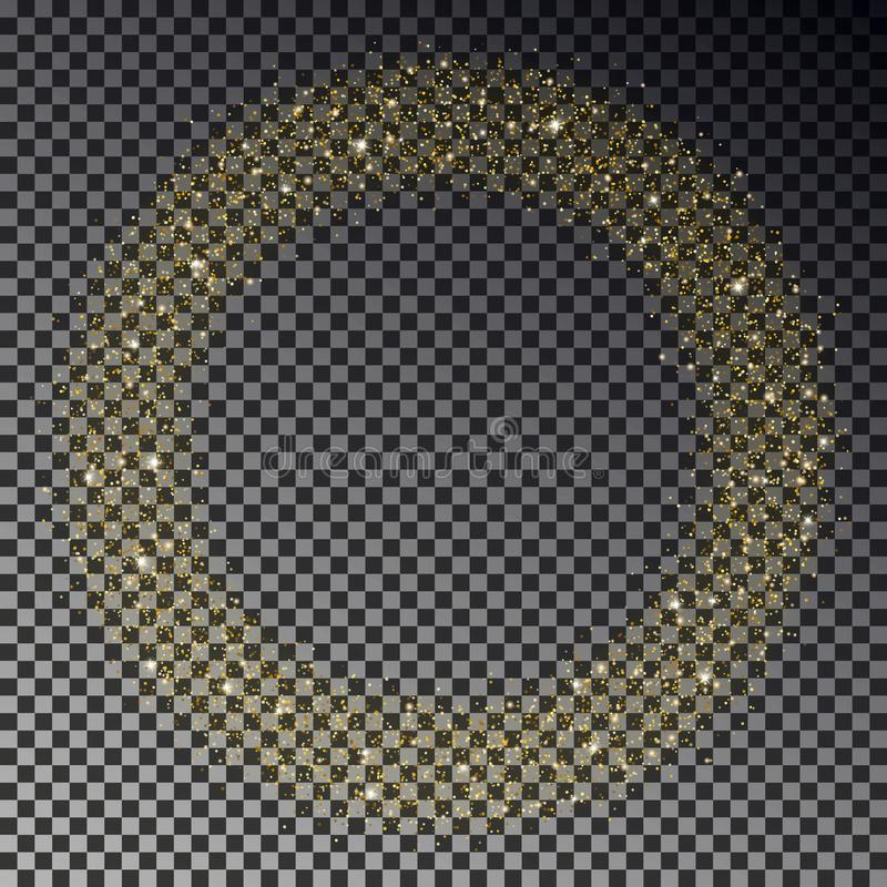 Circle of gold glitter sparkle vector. Star dust round, light effect. Bokeh background. Xmas stars w royalty free illustration