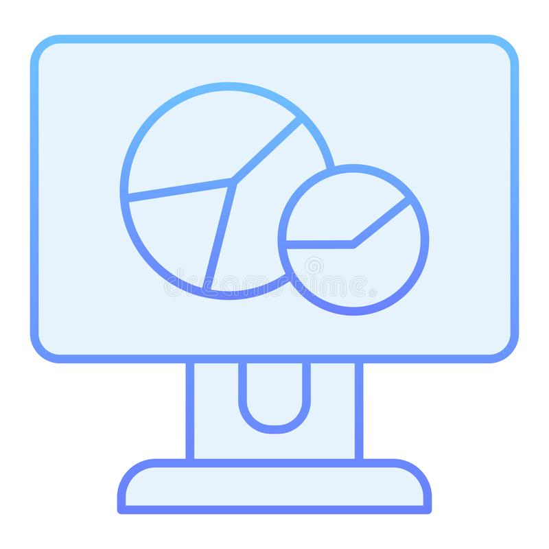 Circle graph on monitor flat icon. Chart on computer screen blue icons in trendy flat style. Diagram gradient style vector illustration